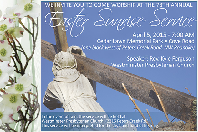 Easter Sunrise Service at Cedar Lawn 2015