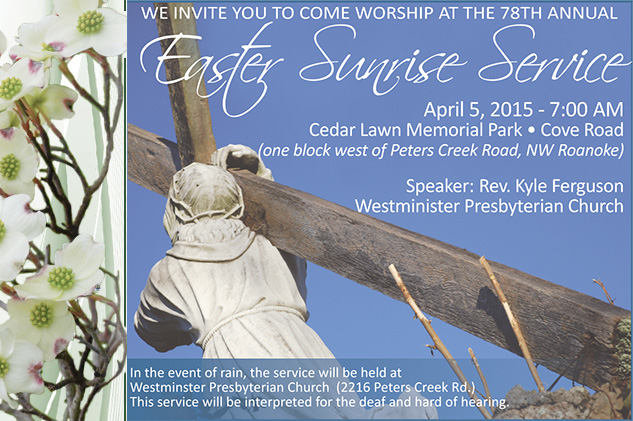 Easter Sunrise Service at Cedar Lawn, 2015