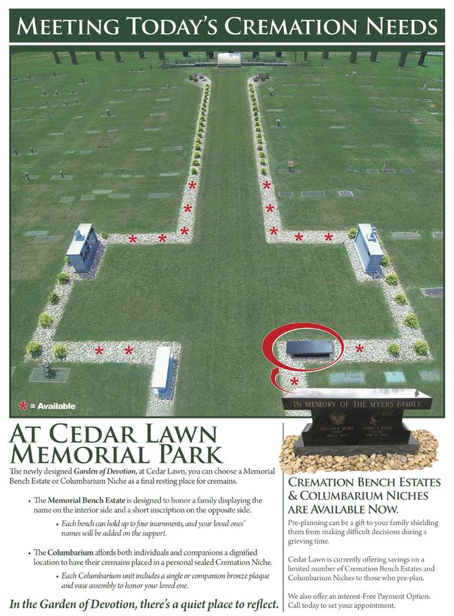 Cremation Garden & Estate Benches at Cedar Lawn Memorial Park, Roanoke, VA