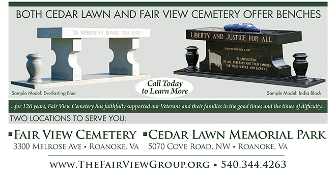 Estate Benches Available at Fair View Cemetery and Cedar Lawn Memorial Park, Roanoke, Virginia