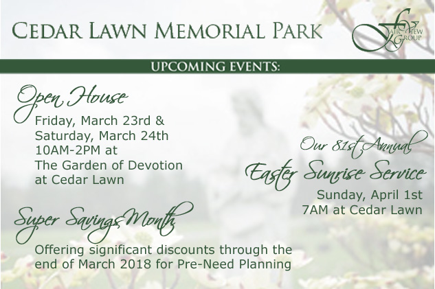 2018 Spring Events at Cedar Lawn