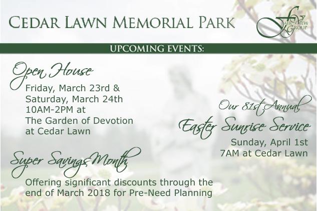 2018 Spring Events at Cedar Lawn